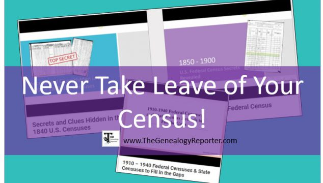 3 New U.S. Census Webinars Covering 1790 -1940 and State Censuses Too!