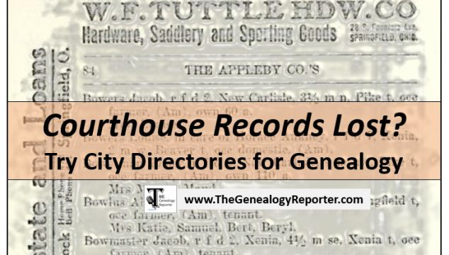 City Directories for Genealogy When There's Been a Loss of Vital Records