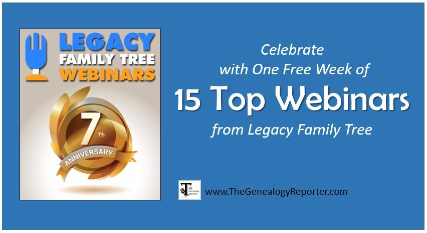 Legacy Family Tree Webinars Anniversary