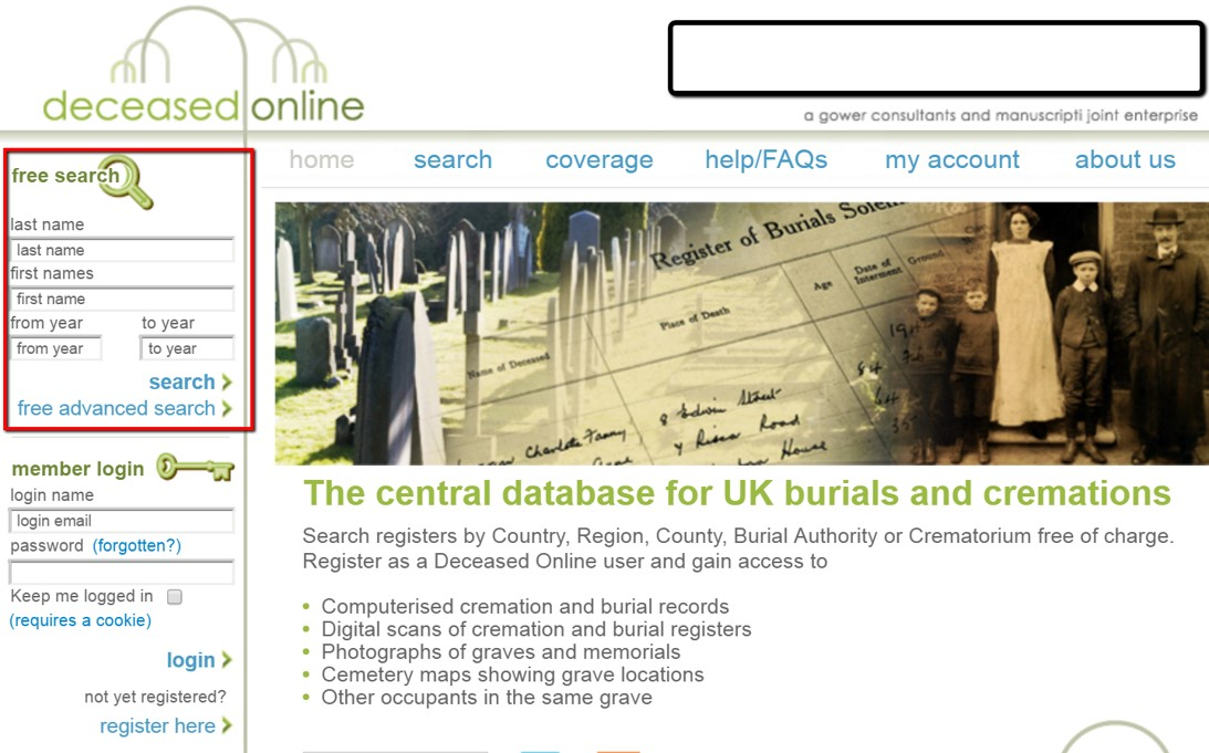 virtual cemeteries for genealogy in UK