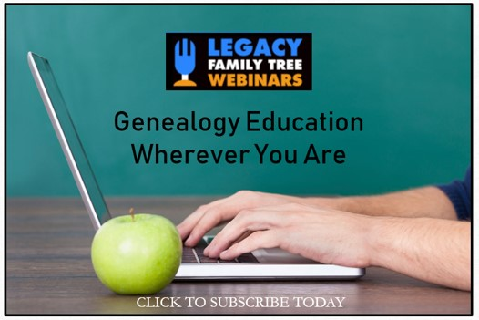 free genealogy webinars at legacy family tree