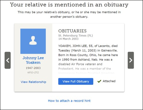 obituary to attach to Family Tree