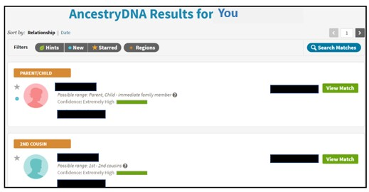 Ancestry DNA test sale offers matching results list