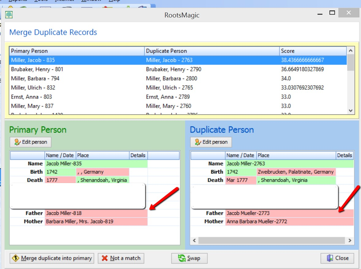 cleaning up duplicates in your family tree by merging