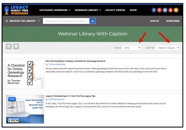 closed captioned genealogy webinars list
