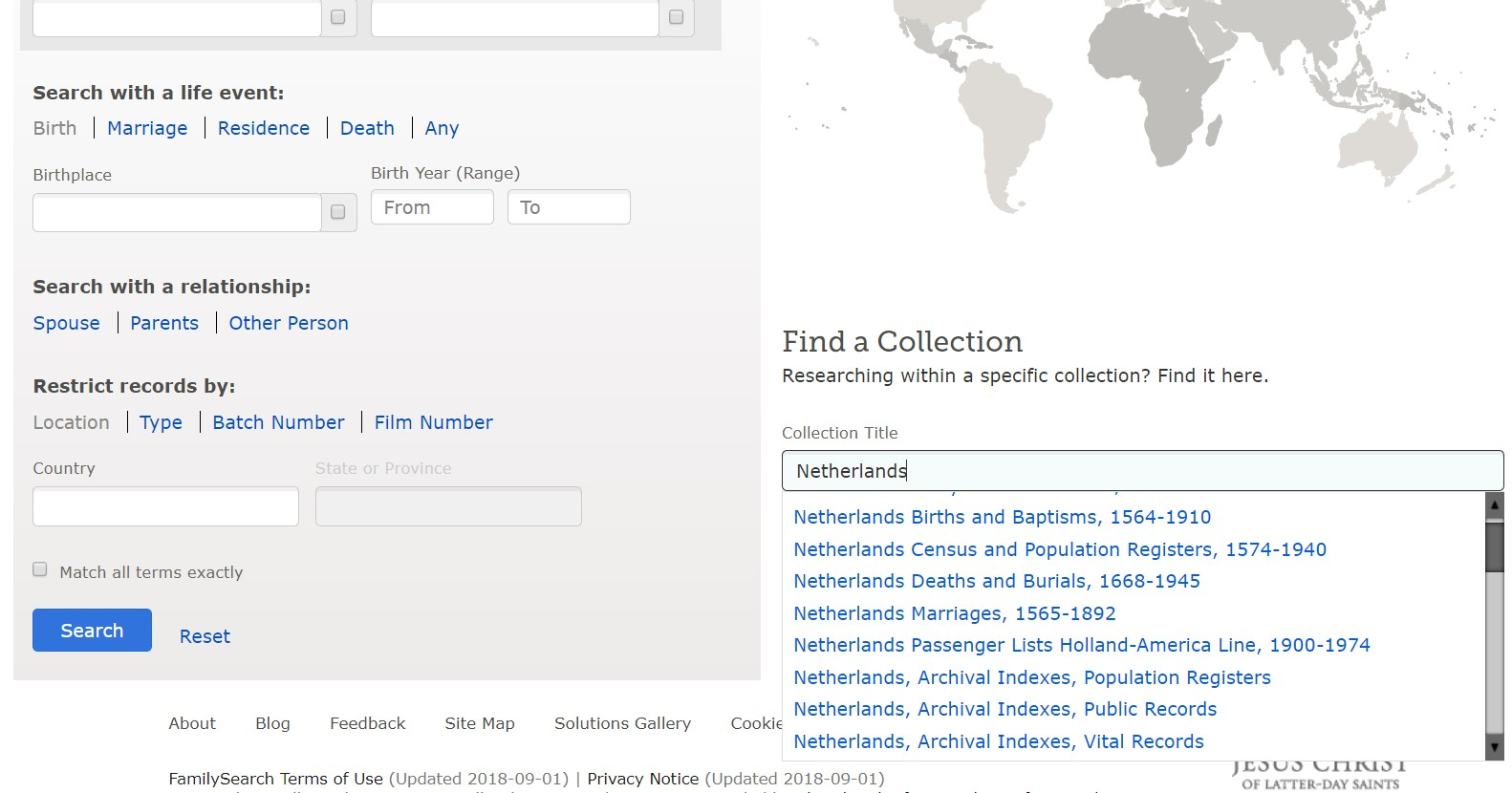 Familysearch records for Dutch genealogy research