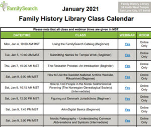 family history library schedule
