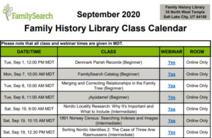 Family History Library webinars for September 2020