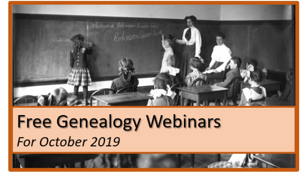 FREE Genealogy Webinars for October 2019