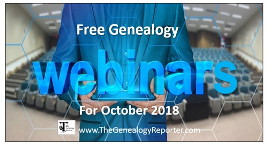 Free Genealogy Webinars for October 2018