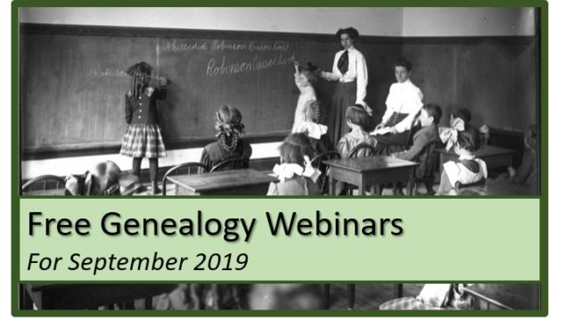 Free Genealogy Webinars for September 2019