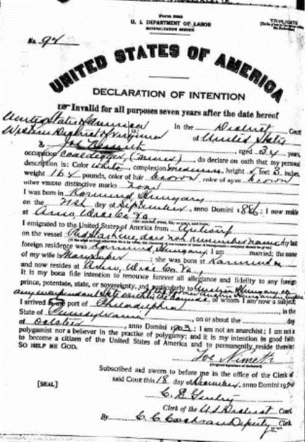 find a birth record in naturalization papers