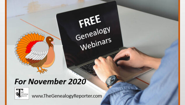Free Genealogy Webinars for November 2020
