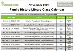 Family history library free webinars for November 2020