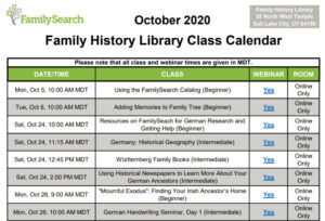 free genealogy webinars at Family History Library