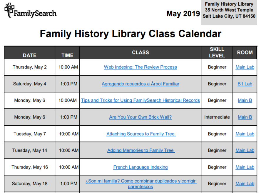 Family History Library free genealogy webinars