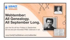 free genealogy webinars all September