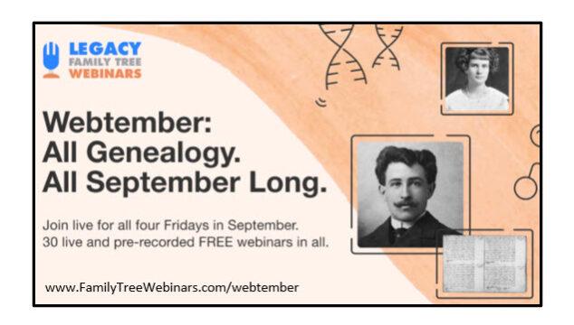 MyHeritage Offers FREE Webinars in September