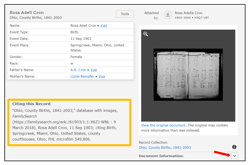 cite your sources from FamilySearch
